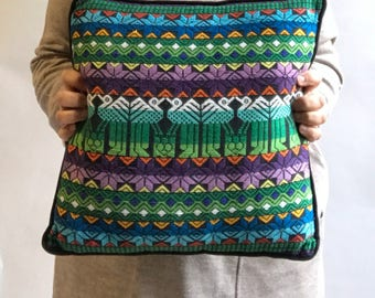 Guatemalan Pillow, Bohemian Pillow, Boho pillow, Gypsy Pillow / Multicolored Embroidered Pillow