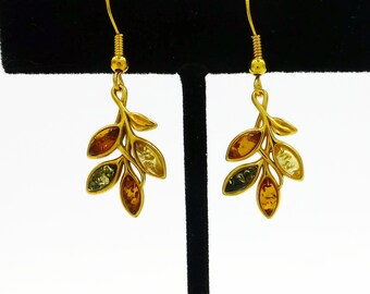 Gold plated sterling silver leaf earrings, Baltic amber earrings, amber gifts, mixed amber drop earrings, ladies earrings, unique earrings,