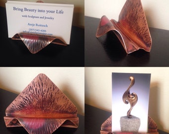 Business card holder for desk, present your business in unique style, copper card holder, desk accessories, organize your office, foldform
