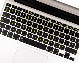 Black Keyboard with Yellow Letters Macbook Decal Keyboard Stickers for Macbook Acer Asus Dell HP Lenovo Chromebook Toshiba # Black Yellow