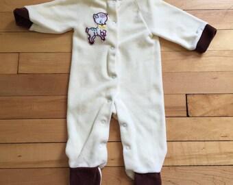 Vintage 1970s Baby Infant Boys Velour Deer Sleeper! Size 6 months