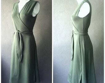 Long wrap dress, sleeveless maxi dress