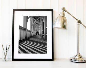 Newcastle High Level Bridge, North East England, Fine Art Photography, Famous Landmark Print, Architectural Monochrome Black and white photo