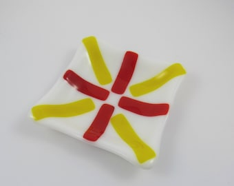 Fused Glass White, Red & Yellow Dish