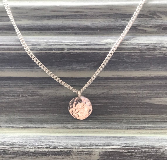 Small silver necklace, disc hammered tiny circle   small disc 16 inch chain recycled fine silver