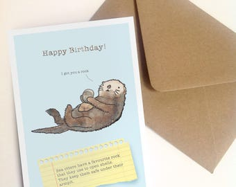 Funny sea otter birthday card for animal lovers and wildlife nerds