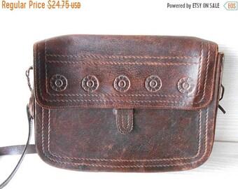 20%ON SALE Brown leather bag, vintage brown leather shoulder bag, tooled leather bag purse handbag, little brown leather bag, boho hippie le