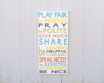 Play Room Rules Wood Sign Hand Painted
