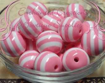 20mm Vintage Pink and White Striped Beads Qty 10