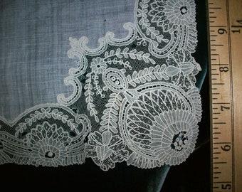 Point de Gaze Antique Lace hand done wedding hanky 1800s
