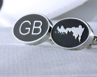 Great Britain Cufflinks and Map