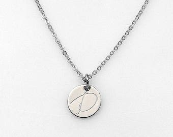 Personalized Hand stamped Silver Disc Necklace, Personalized Charm, Initial Necklace, Thin disc Necklace, Dainty Initial Necklace, 12mm Disc