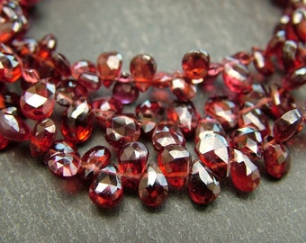 Garnet Pear Briolettes, AA, Faceted, 6-6.5mm