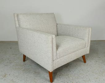 rare authentic Paul McCobb Planner Group Custom Craft tweed platinum tweed lounge chair FREE SHIPPING