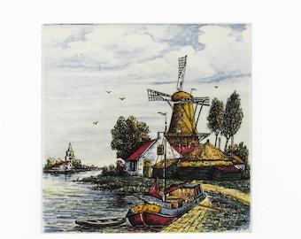 """Vintage Defts Ceramic Tile - Trivet """"Rural Dutch Windmill Scene"""""""