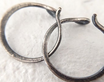 Small Sterling Silver Hoop Earrings - 18g Rustic Minimalist Everyday Unisex Jewelry for Men or Women - Sold in Pairs or Singles 1cm - 1.5cm