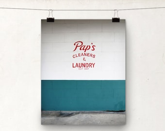 New Orleans Photograph, Laundry Decor, NOLA Art Print, Teal White Red
