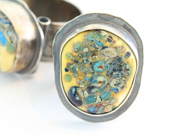 Lampwork, Abstract Colorful Glass Bead, Follow Your Heart, Patina, Sterling Silver, Ring Size 6.5
