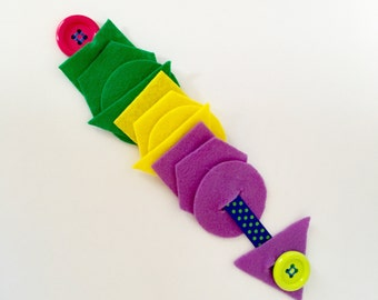 Button Snake- Busy Bag Toy, Learning Toys, Quiet Toy for Toddlers