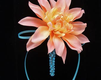 Peach Dahlia Boutonniere with Aqua Ribbon Accent, Mens Wedding Flower, Groom Lapel Pin Decoration