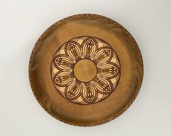 Carved wood plate - pink, green, and yellow - round wood plate - decorative plate