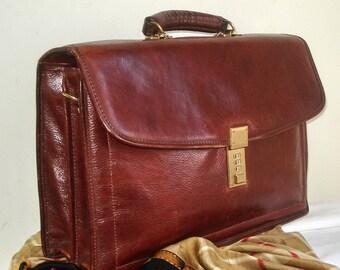 Jack Georges Caramel unisexe porte-documents en cuir classique, riche brun sac à fermeture cartable, Vintage grand Jack Georges unisexe sac cartable, sac