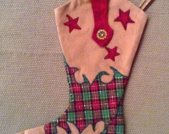 Child's Western Cowboy Boot Christmas Stocking