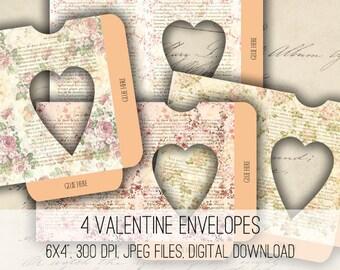 Floral Heart Envelopes Digital Collage Sheet Download -1168- Instant Download - Instant Download Printables