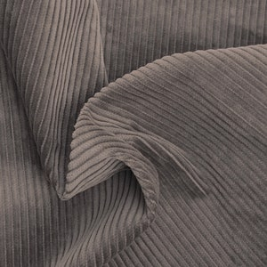 Taupe 100% Cotton Corduroy 6 Wale Fabric by the Yard Pre Washed Made in the USA