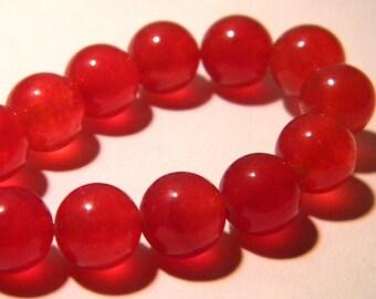 15 pearls jade natural gemstone - Red - 8 mm gemstone - Pearl jade - natural gemstones - K65-3