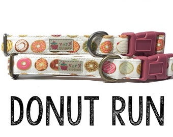"Whimsical Playful & Fun Unique Donuts Doughnuts Dog Collar - Antique Metal Hardware - ""Donut Run"""