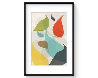 FLOW no.42 - Giclee Print - Mid Century Modern Danish Modern Style Minimalist Modernist Eames Abstract
