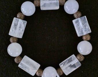 White Jade and Copper Stretch Bracelet