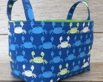 SALE / CLEARANCE - Ready to Ship - Storage Fabric Organizer Bin Container Basket - Don't Be Crabby Nautical Seaside Ocean Fabric