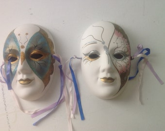 Set of 2 Mardi Gras Clown Mask