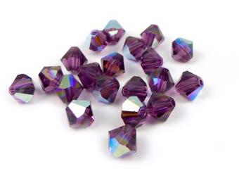 20 x AMETHYST AB  Swarovski® 6mm bicone beads