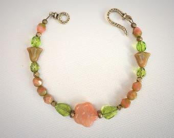 Floral Czech Glass Bracelet