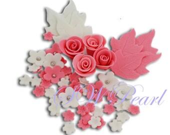 Royal Wedding Pink White Sugar Flowers Set Edible Cake Cupcake Topper