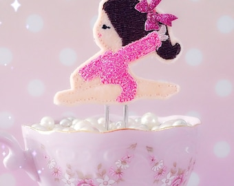 Planner Clip : Pink Ballerina felt pink glitter bow PaperClip   Page Clip   Bookmark   Page Marker . Planner accessories supply.