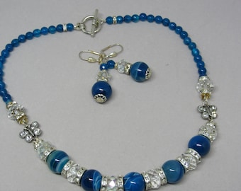 Blue Agate and Swarovski Crystal Necklace and Earring Set