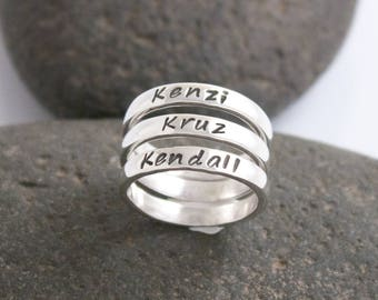 Mothers Ring, Personalized Sterling Silver Ring, Stacking Rings, Stacked Mother's Rings