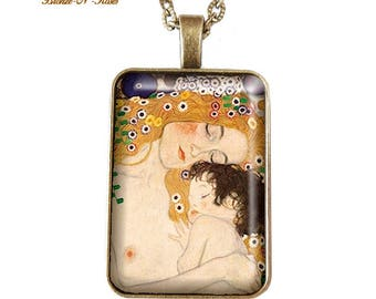 Rectangle necklace mother and child jewelry gift mother's Klimt bronze