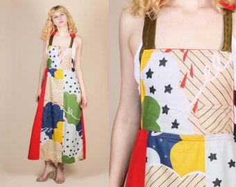 Vintage Patchwork Pinafore  - Small // Boho 70s Corduroy Handmade Apron Dress