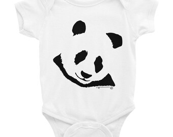 Cute Panda Baby Onesie, Infant short Sleeve Bodysuit, adorable Panda clothes for baby. Style your little one in fashion, panda love adorable