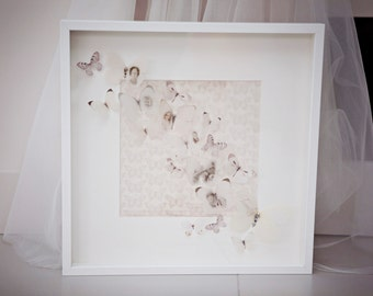 Memory butterfly framed picture, hand cut luxury vellum butterflies personalised with your images. Finished with Swarovski Crystals.