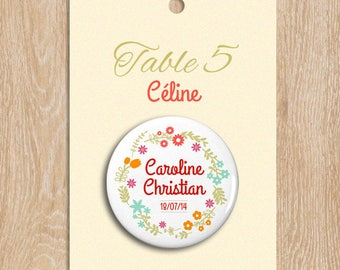 Escort cards badge customizable 38 mm welcome wedding flowers