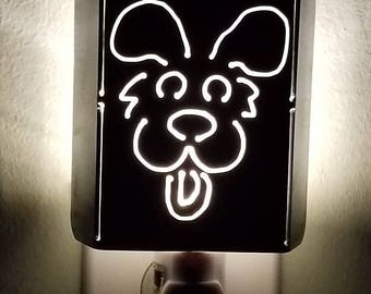 Whimsical Puppy Dog Plasma Cut Metal Night Light in Raw Steel or Painted