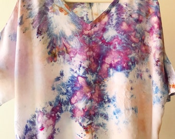 Ready to Ship Hand Dyed V-Neck Blouse in Amethyst , Bat Wing, Anna Joyce, Portland, Or