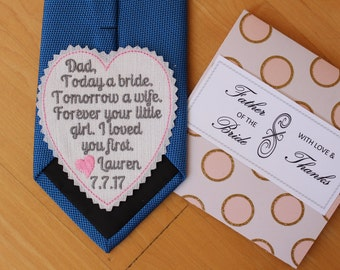 Father of the Bride Tie Patch with Gift box, today a bride, suit label for dad, Embroidered Patches, Wedding Gift, iron-on available,S4