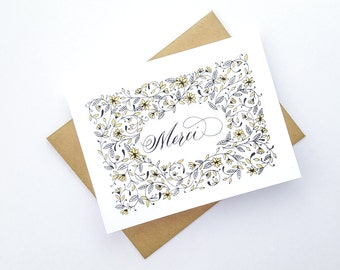 Merci card | Gold Screenprinted Card | Thank you | French Card | Calligraphy | Floral Pattern | Pretty Note Card | Wedding | Flowers, Leaves